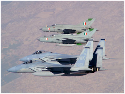 Exercise Cope India 2004 - USAF F-15C and IAF MiG-21 Bisons (MiG-21 Upgrades) in formation