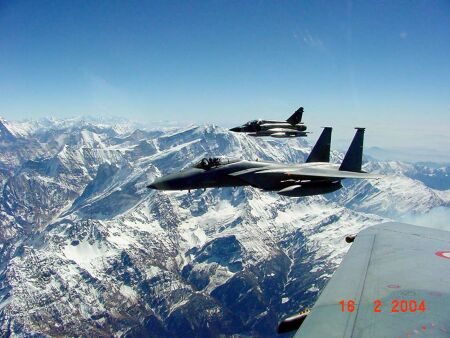 Mirage-2000s and F-15s fly over the majestic Himalayas