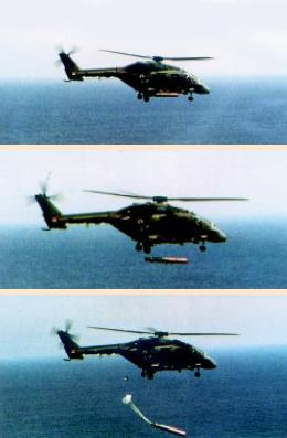 Advanced Light Helicopter (ALH) Dhruv - naval variant drops a torpedo